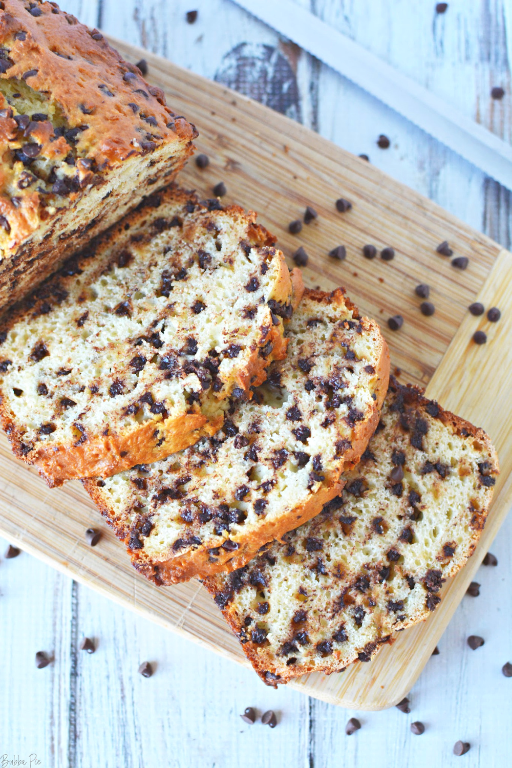 Chocolate Chip Bread Loaf is made with 6 simple ingredients.