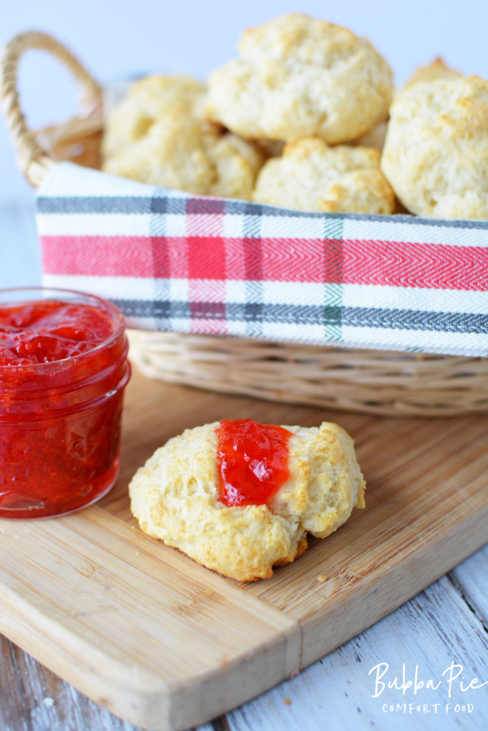 This Homemade Drop Biscuit Recipe tastes great with strawberry jam