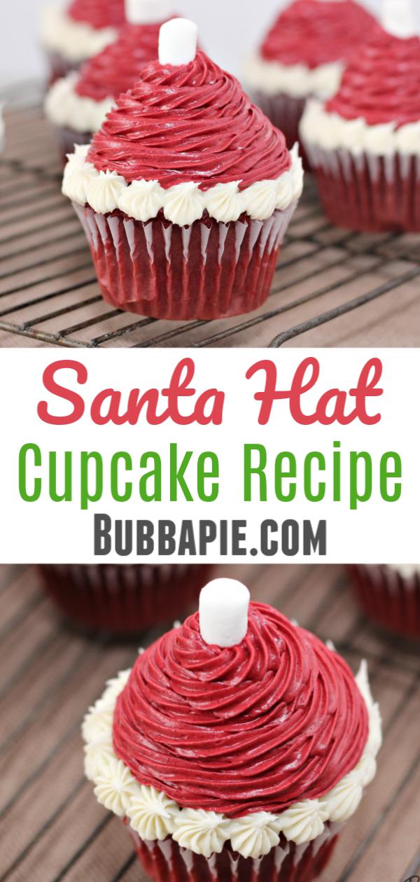 Santa Hat Cupcake Pin