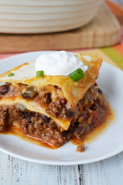 This Taco Lasagna Recipe is the perfect casserole for your family dinner.
