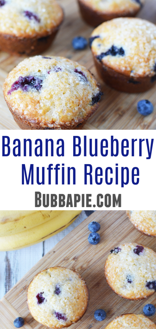 banana blueberry muffins recipe pin