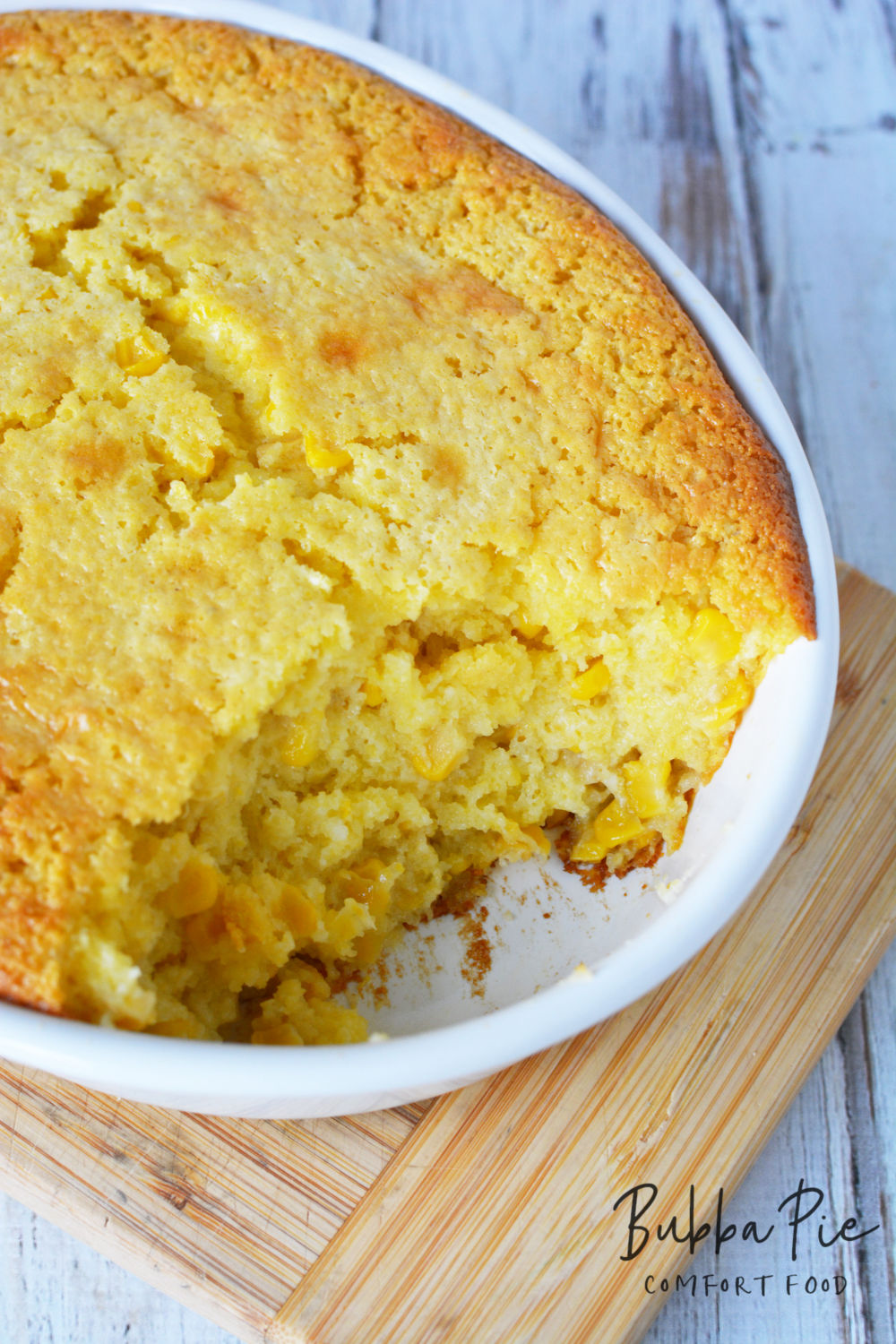 This easy corn pudding casserole uses Jiffy Corn Muffin Mix