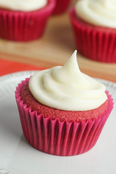 this gluten free red velvet cupcake recipe is incredibly moist