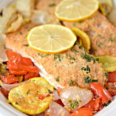 Low Carb Parmesan Crusted Salmon Sheet Pan Meal