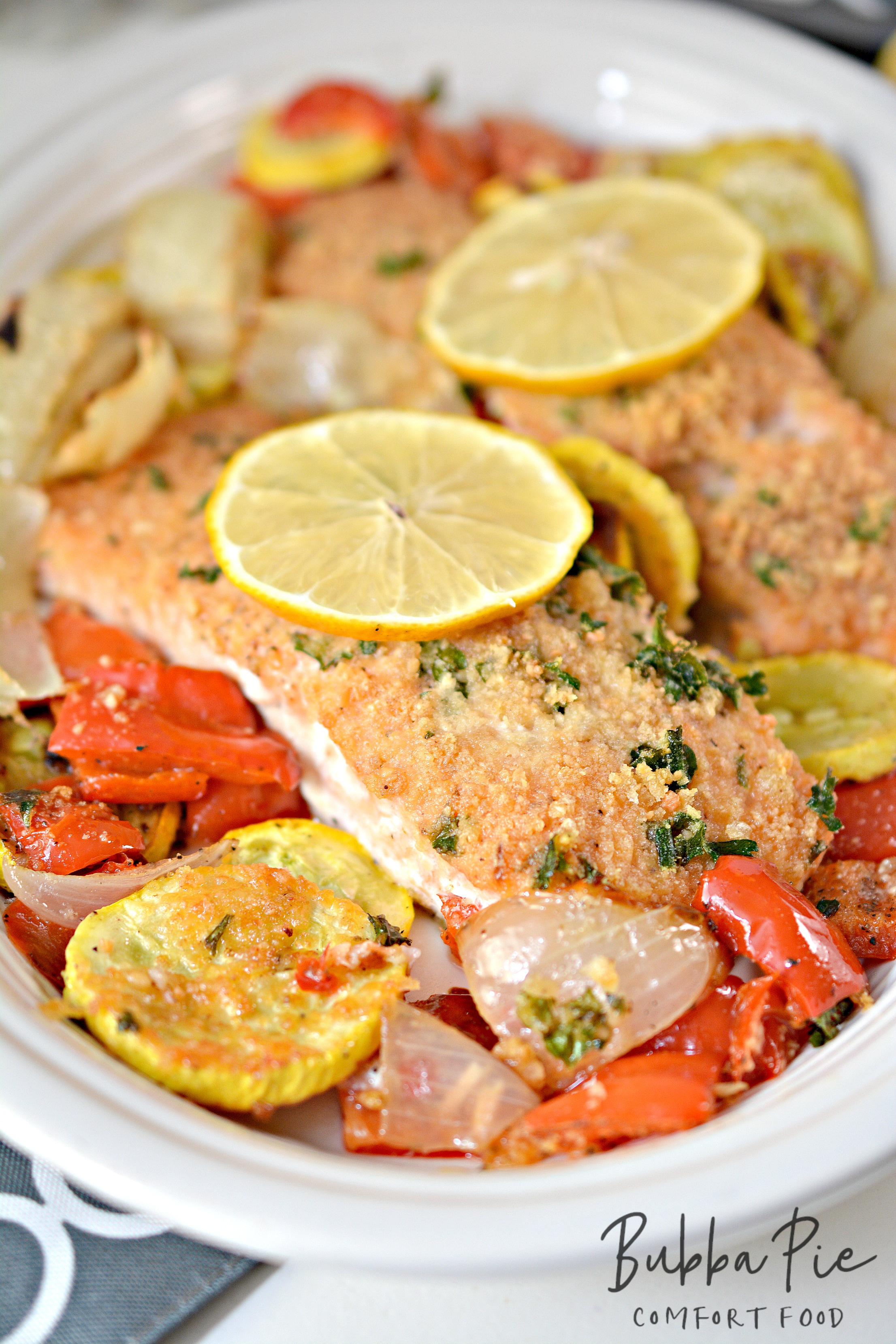 parmesan crusted salmon is a great sheet pan dinner for the whole family. And it is low carb.