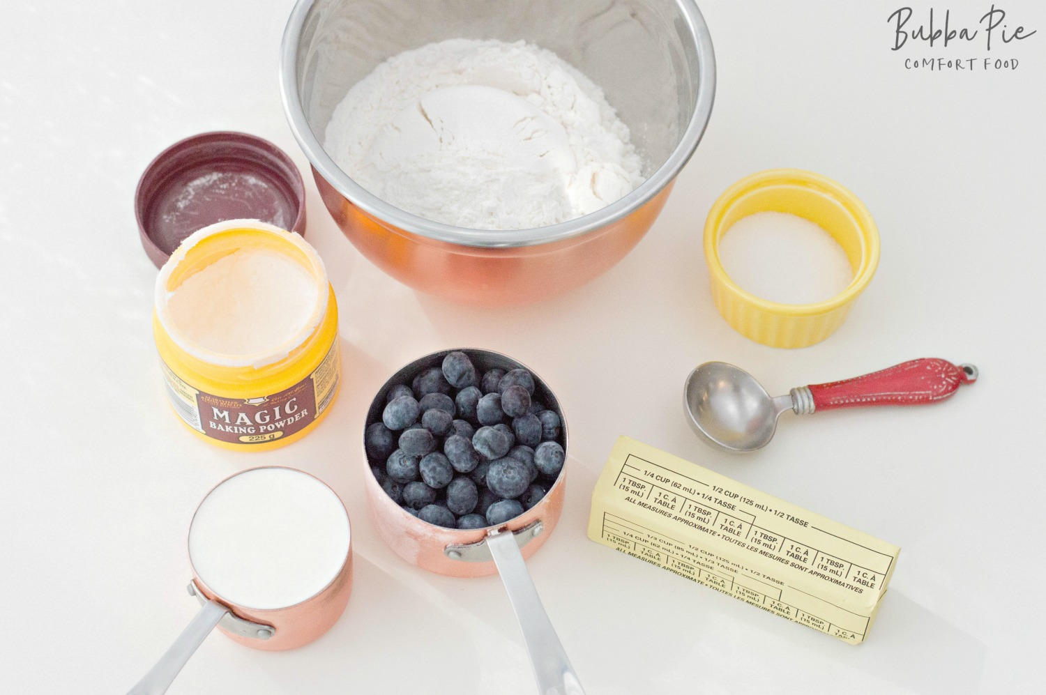 ingredients for Blueberry Scone Recipe include butter, blueberries, flour and heavy cream