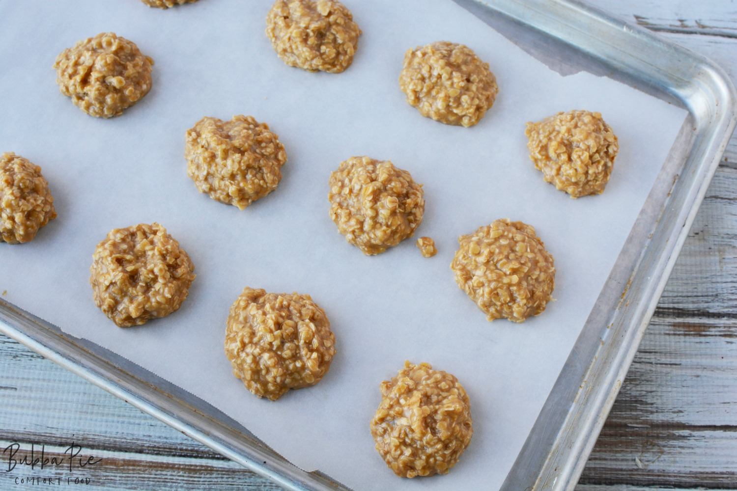Put the cookies on a parchment lined baking sheet for this No Bake Peanut butter Cookies Recipe