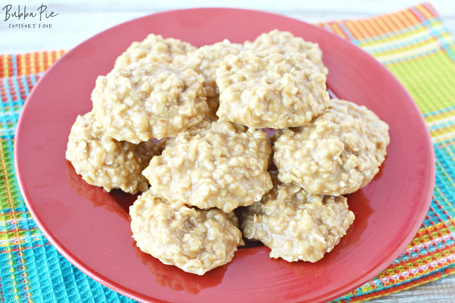 No bake Peanut Butter Cookies on a plate on the counter. I always steal a couple extra!