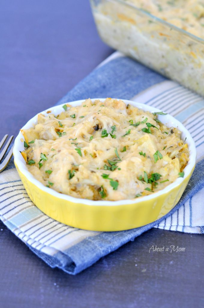 Chicken Casserole Recipes include this chicken, artichoke and quinoa dish