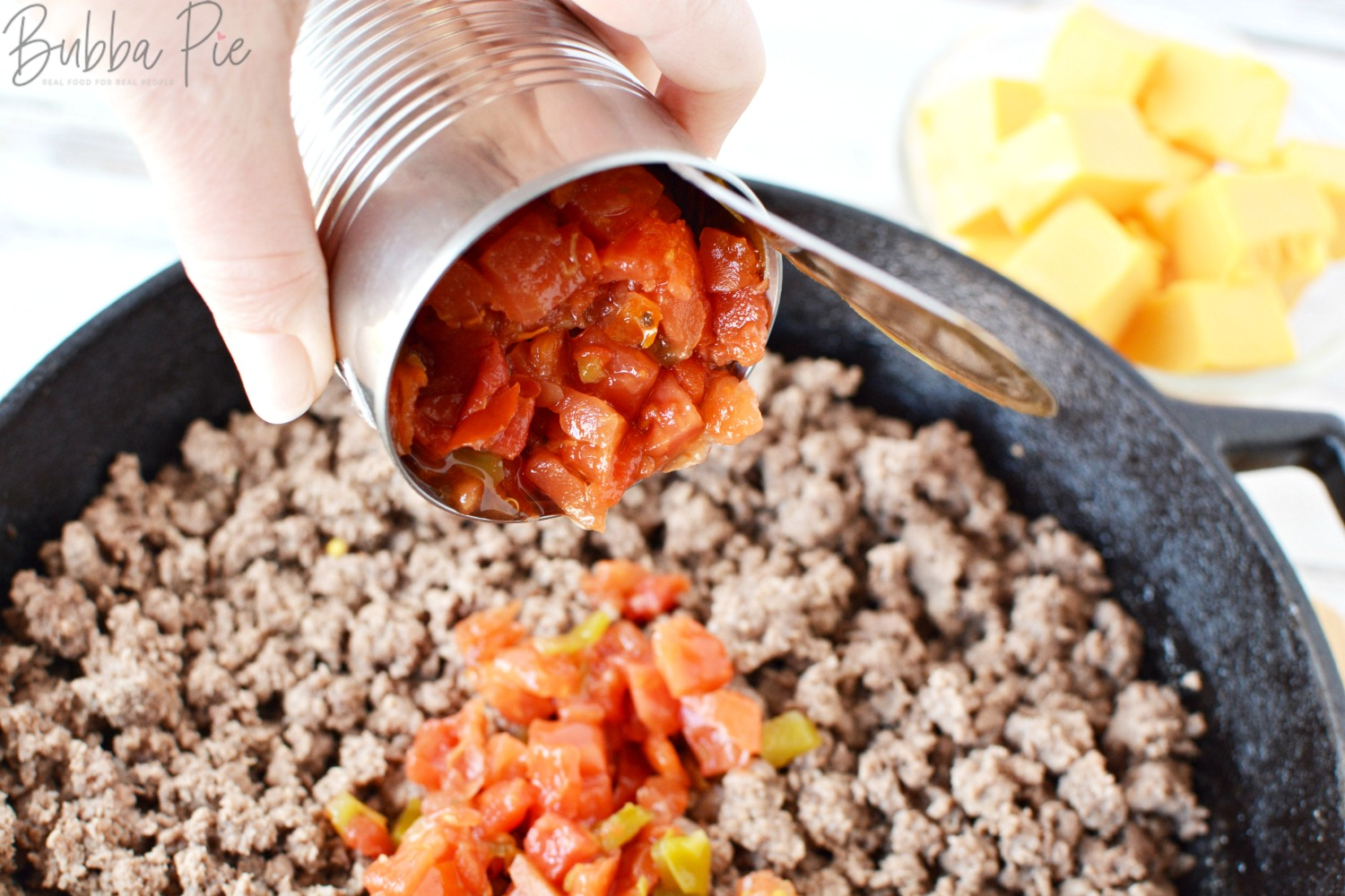Rotel Dip Recipe has RO-TEL tomatoes that already have the chilis in them!