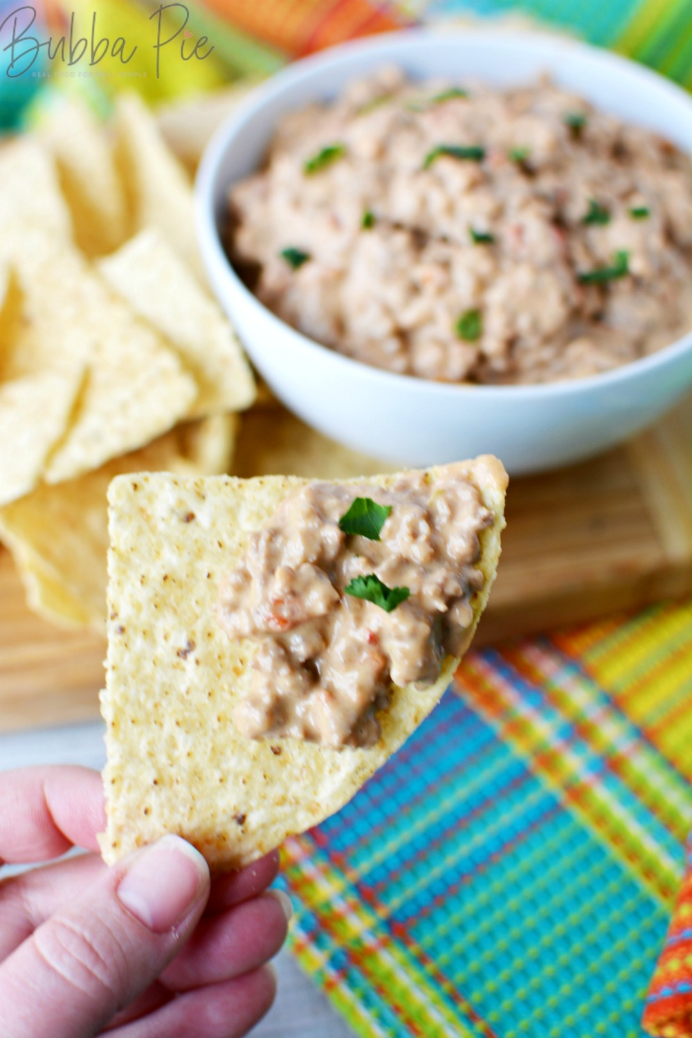 Rotel Dip is a great cheese dip to have with tortilla chips, corn chips, bread, pretzels or vegetables!