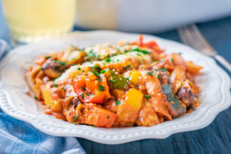Meatless Pasta bake made with Lentil pasta is a great Vegetarian Comfort Food