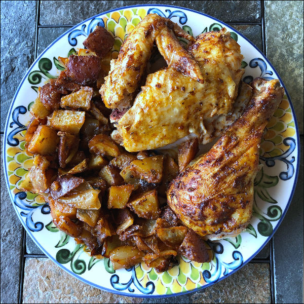 chicken comfort food recipes includes paprika roasted chicken and potatoes
