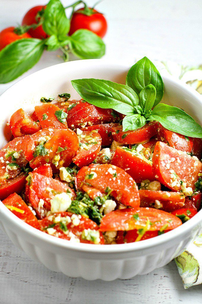 rich and hearty tomato feta salad
