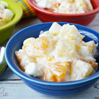 This 5 cup salad has oranges, pineapple, sour cream and marshmallows.