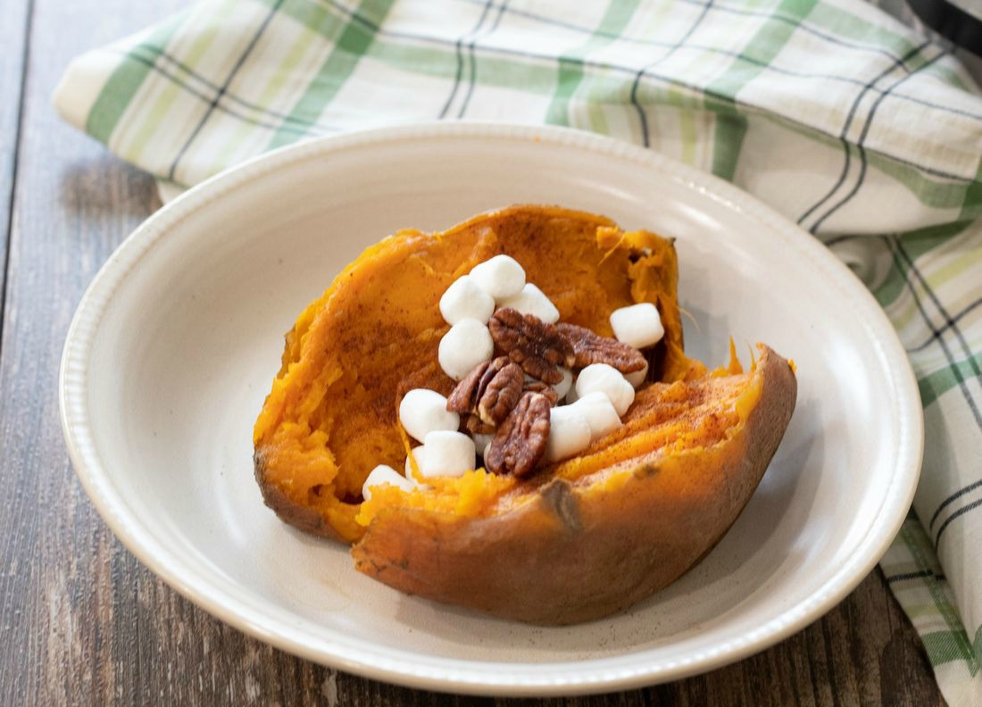 Instant Pot Sweet Potatoes with mushrooms and pecans