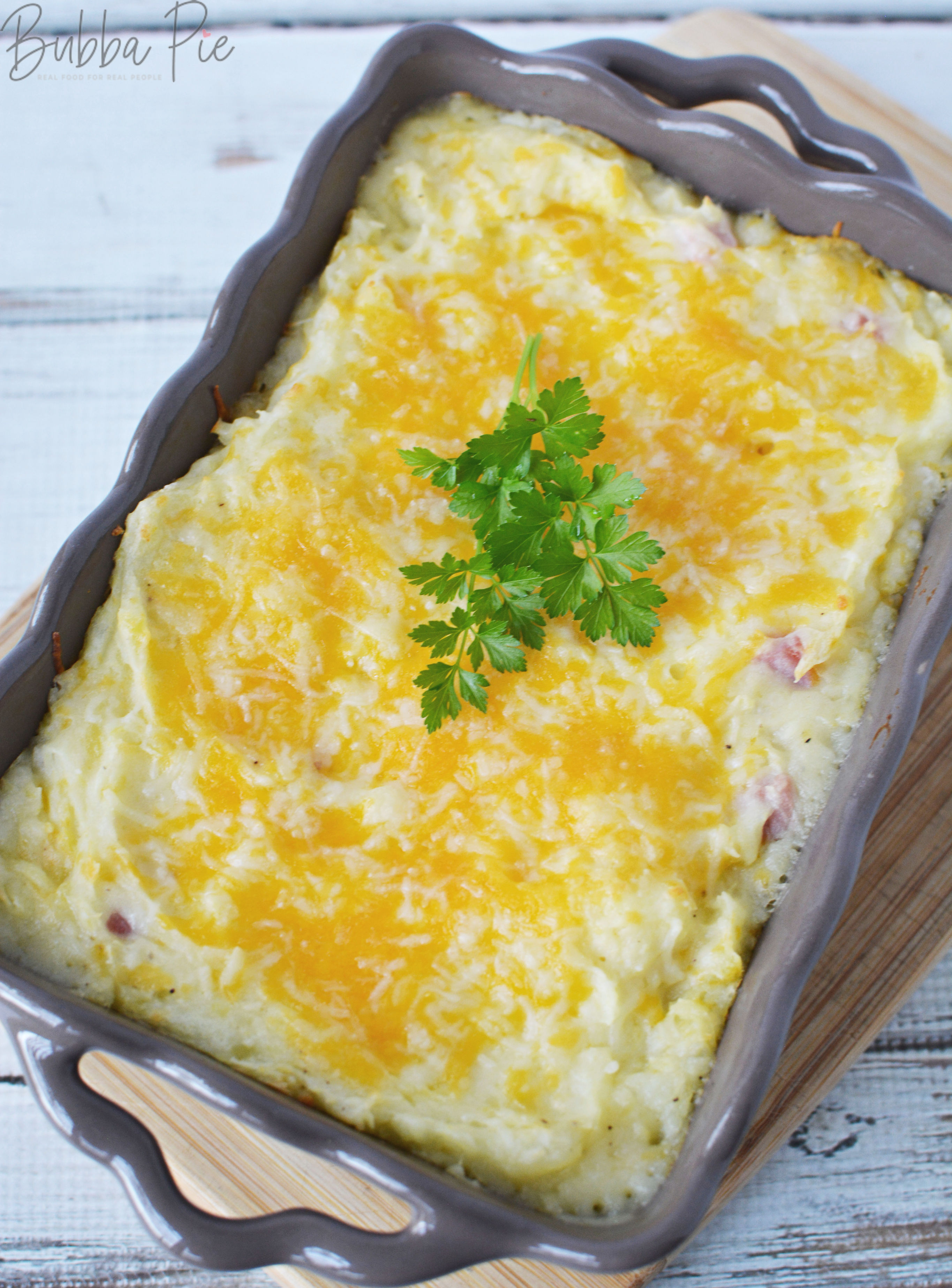 twice baked mashed potatoes made with onions, ham and butter