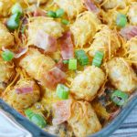 Bacon Cheeseburger tater tot casserole recipe is made with ground beef, bacon and cheese