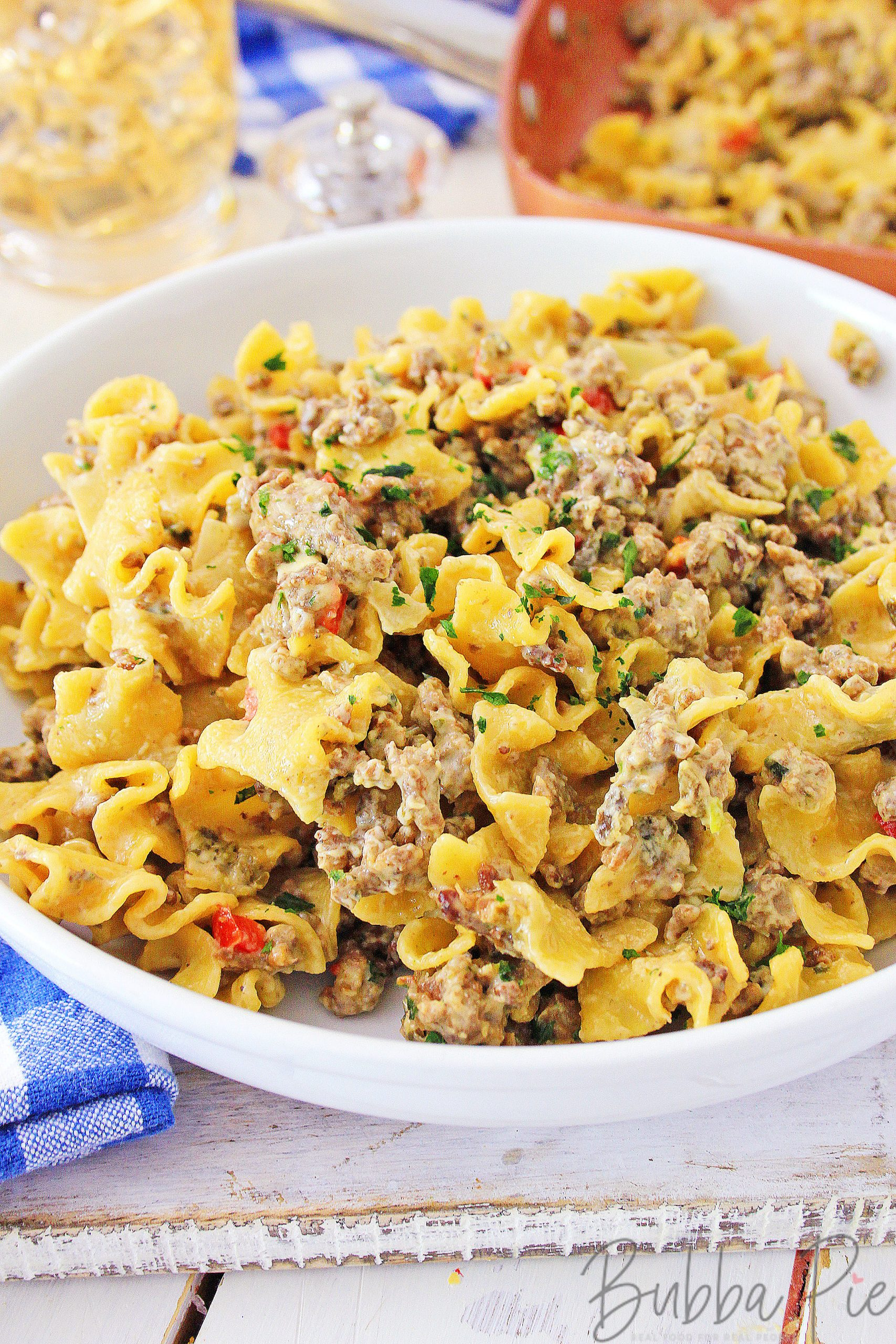 One Skillet Philly Cheesesteak pasta recipe