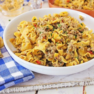 Philly Cheesesteak Pasta-One Skillet Recipe