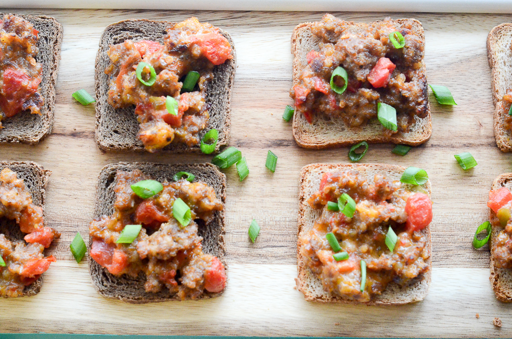 Rye Bread Appetizers being served for christmas