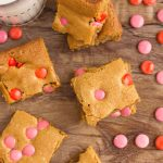 Valentine's Day Brown Sugar Blondies with a glass of milk