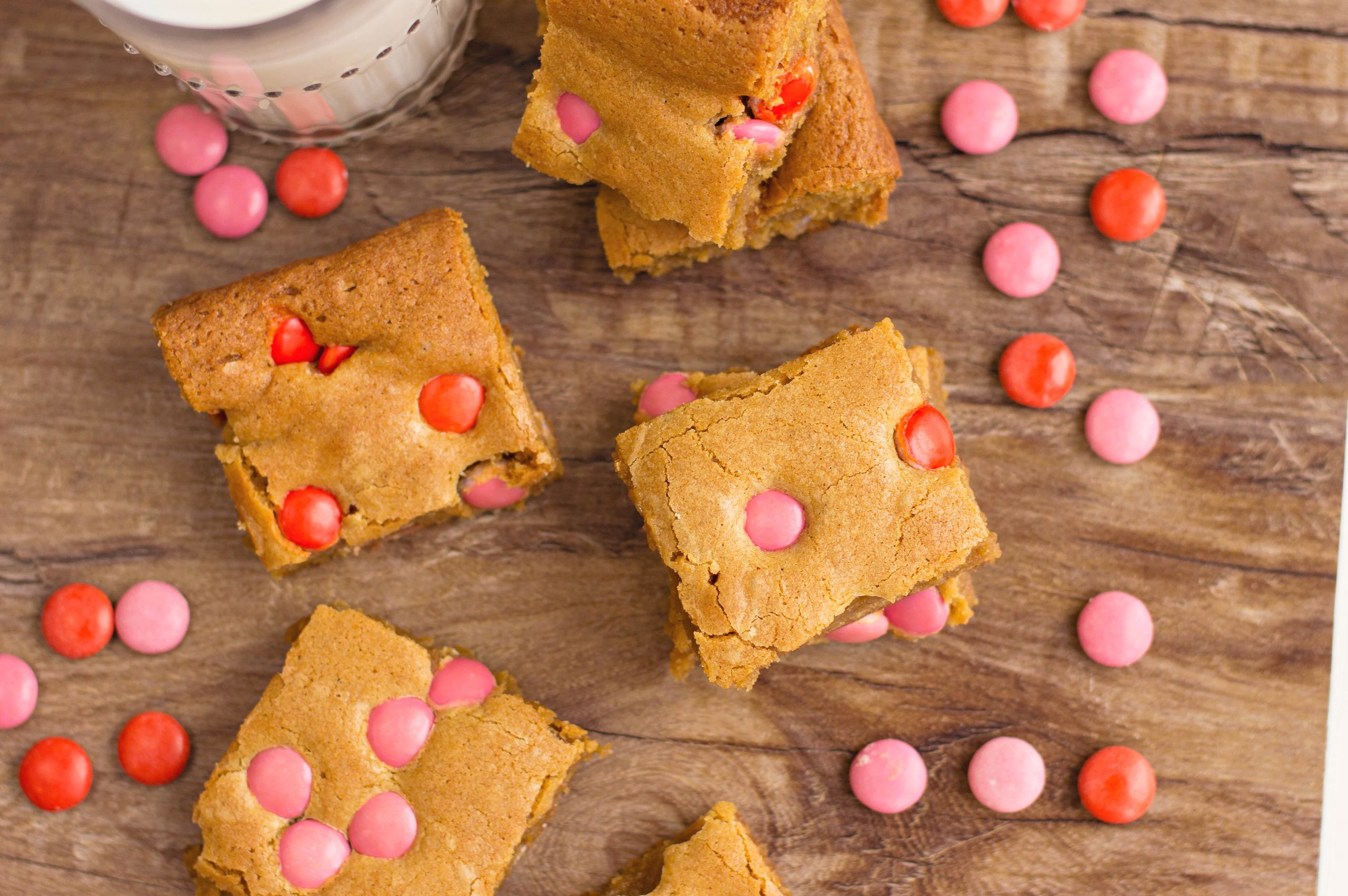 Valentine's Day Brown Sugar Blondies with red and pink m&ms