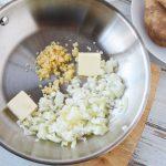 cook onion, garlic and butter over medium heat