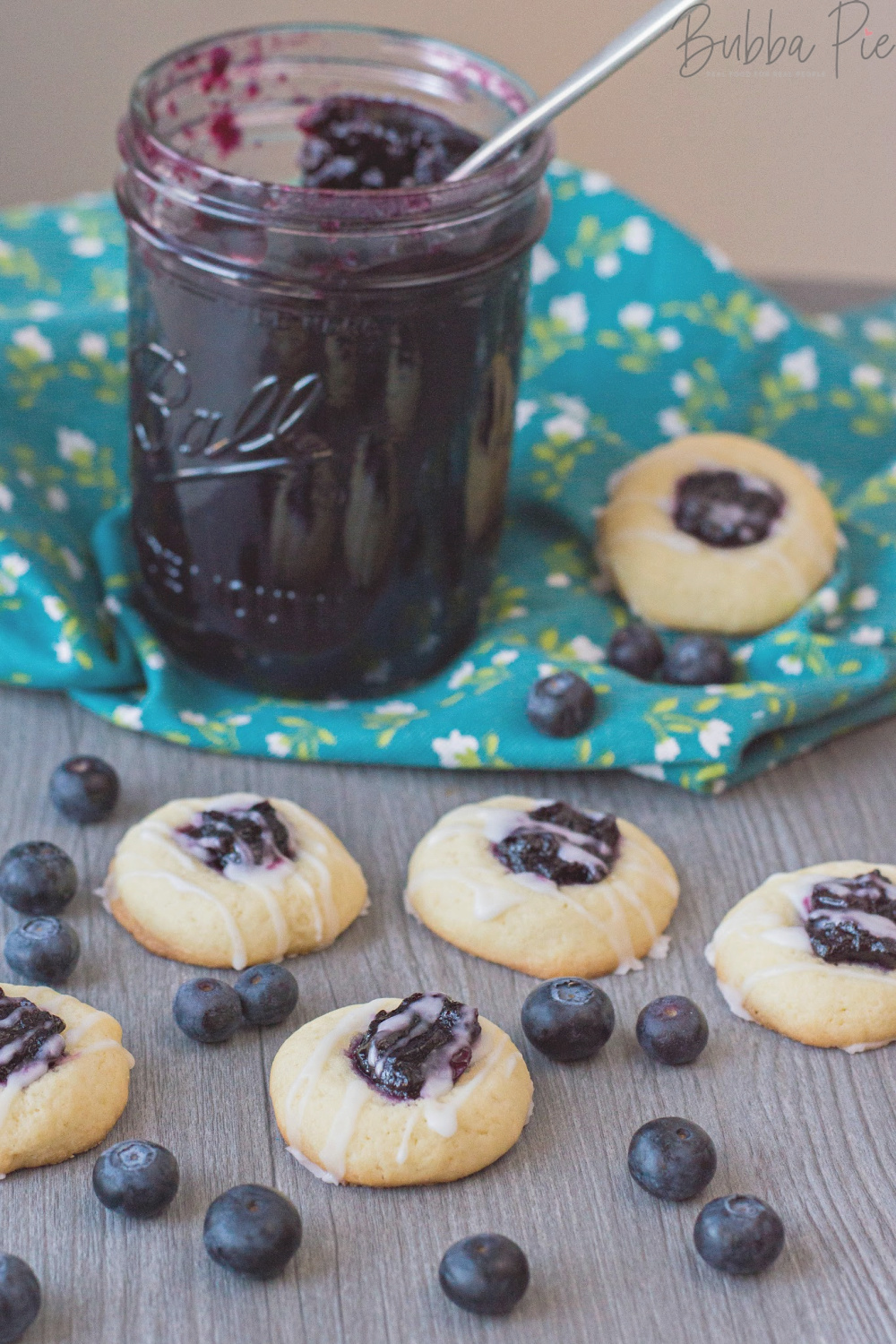 Blueberry Thumbprint Cookies with icing