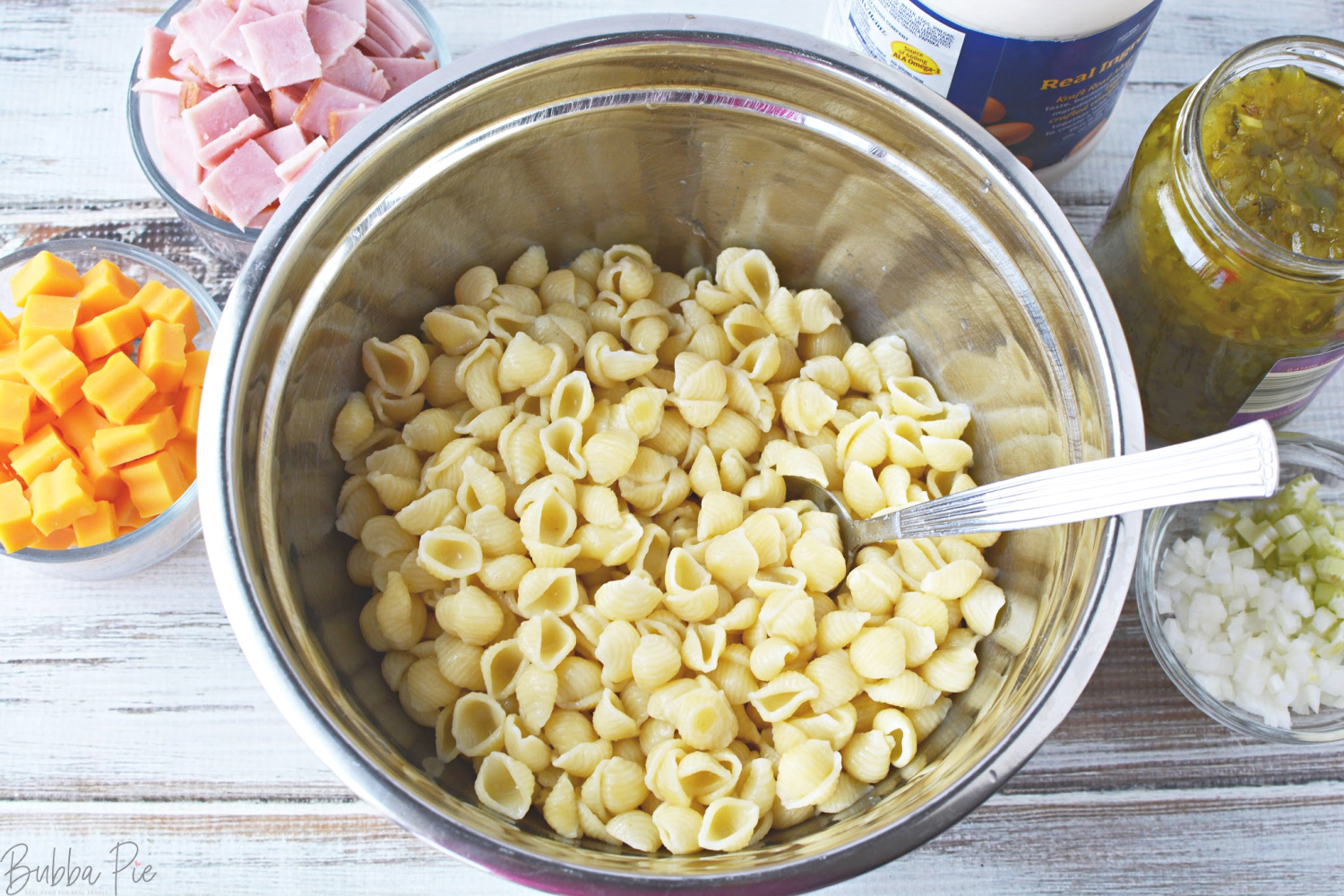 Macaroni Salad with Ham and Cheese ingredients include celery, cheddar cheese and mayonnaise