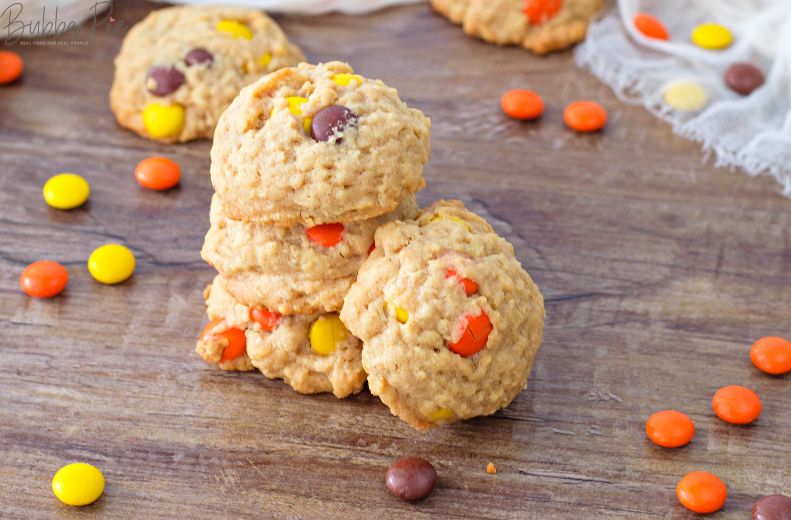 Peanut Butter Oatmeal Cookies with Reese's Pieces