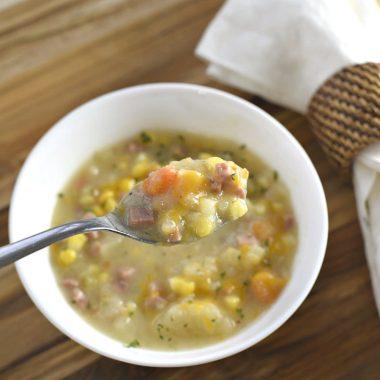 Crockpot Corn Chowder With Ham And Potato
