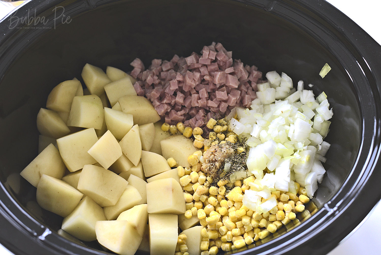 slow cooker ham potato and corn chowder