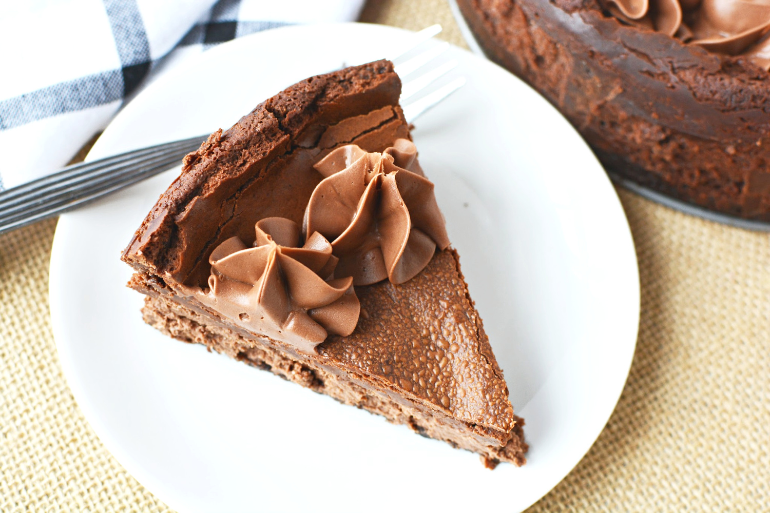 Chocolate Mousse Cheesecake with a chocolate graham cracker crust