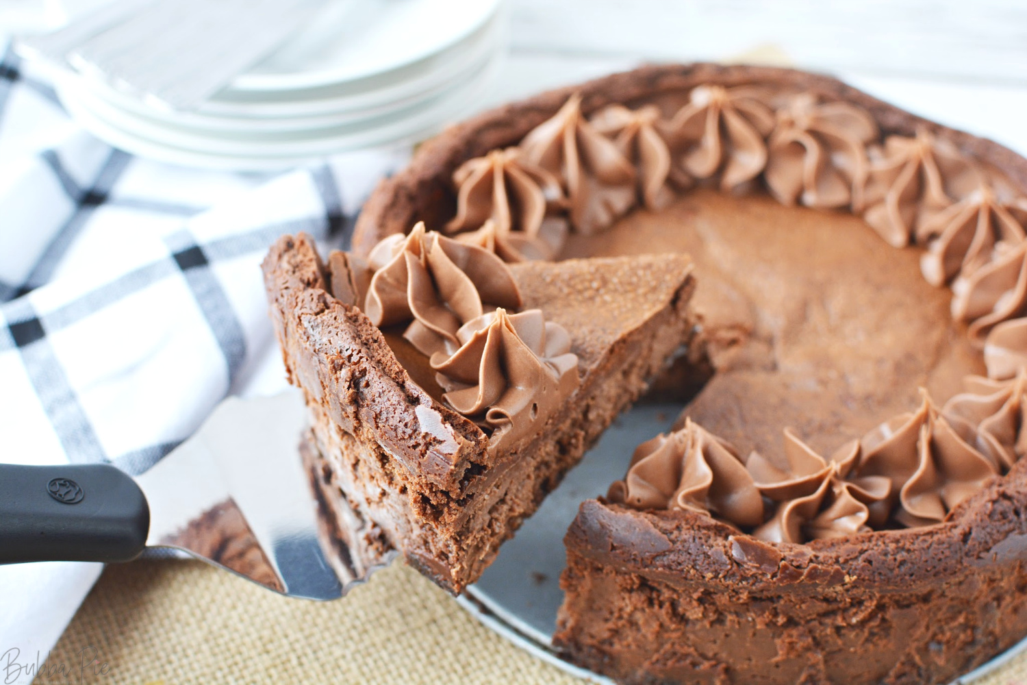 Easy Chocolate Mousse Cheesecake Recipe being served for dessert.