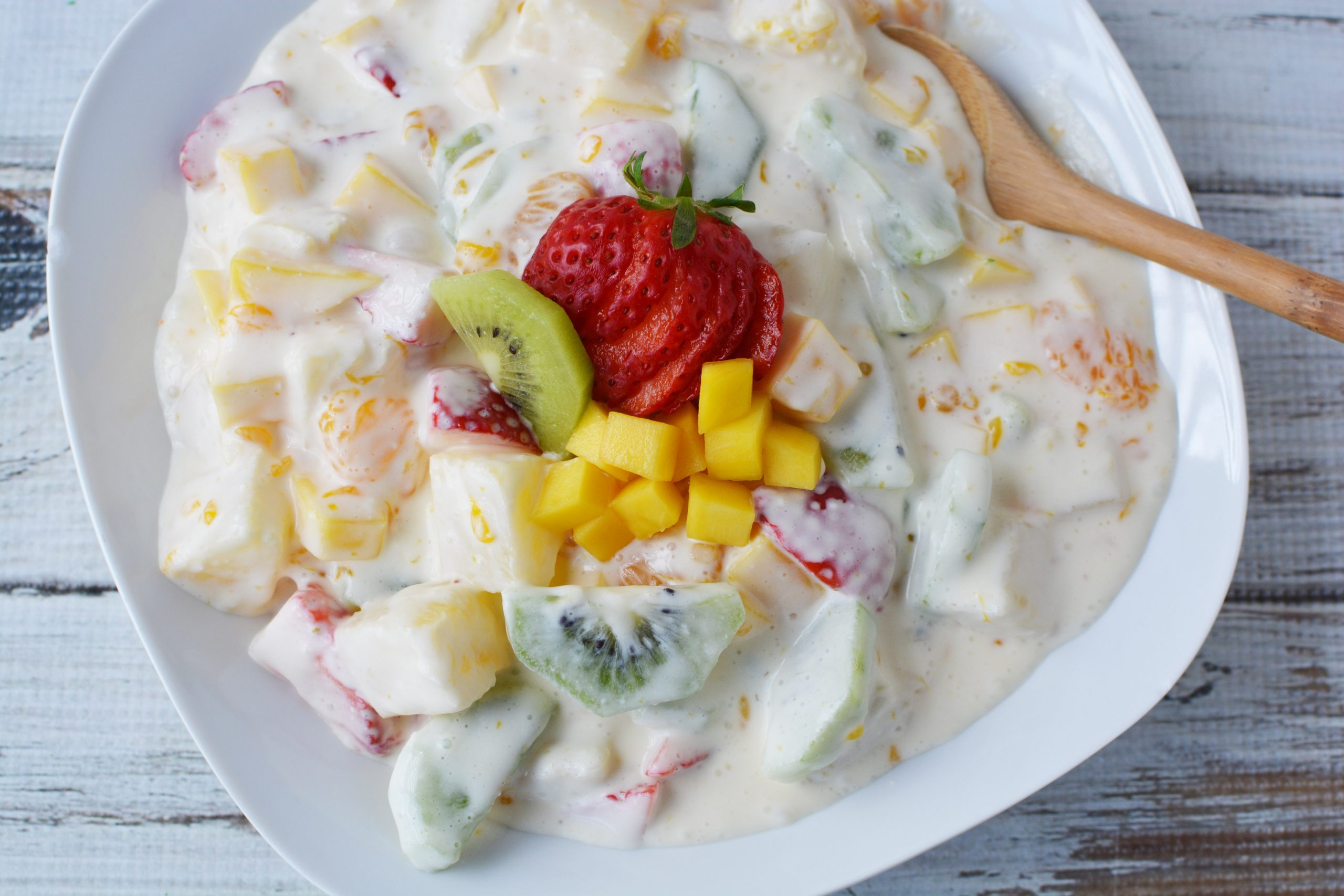 Hawaiian Cheesecake Salad Recipe has tropical fruit, cream cheese and instant pudding mix