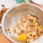 Add egg into the sugar mixture and mix completely. Add vanilla.