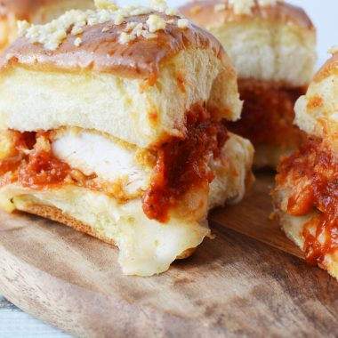 Chicken Parmesan Sliders makes a great appetizer or easy family dinner.