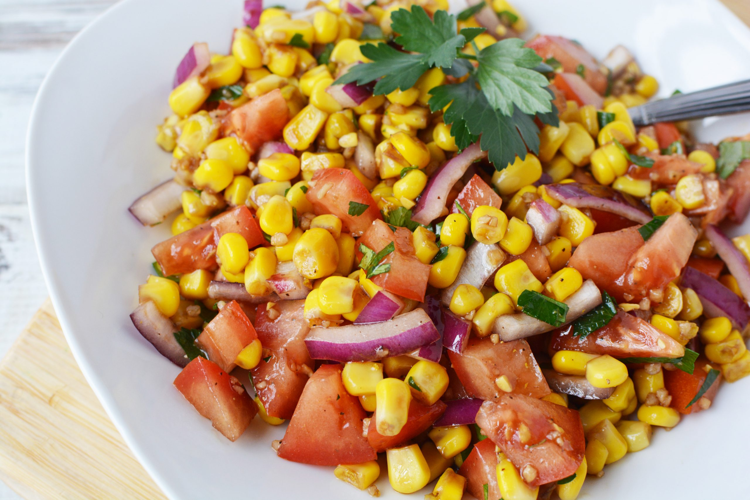 Corn and Tomato Salad makes a great summer side dish.
