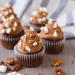 Rocky Road Cupcakes with marshmallows, chocolate and pecans.