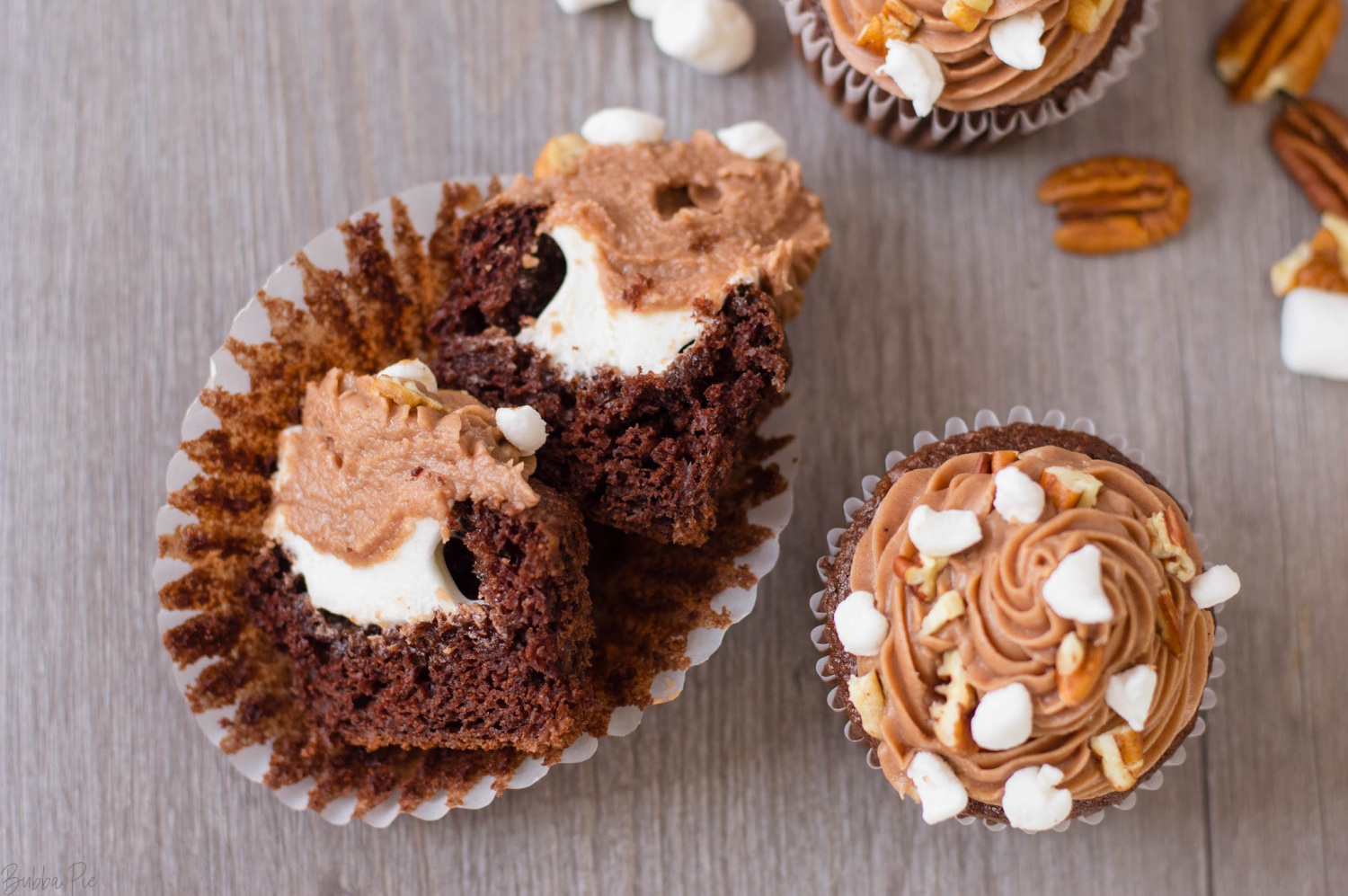 Rocky Road Cupcakes Recipe with a gooey marshmallow center.