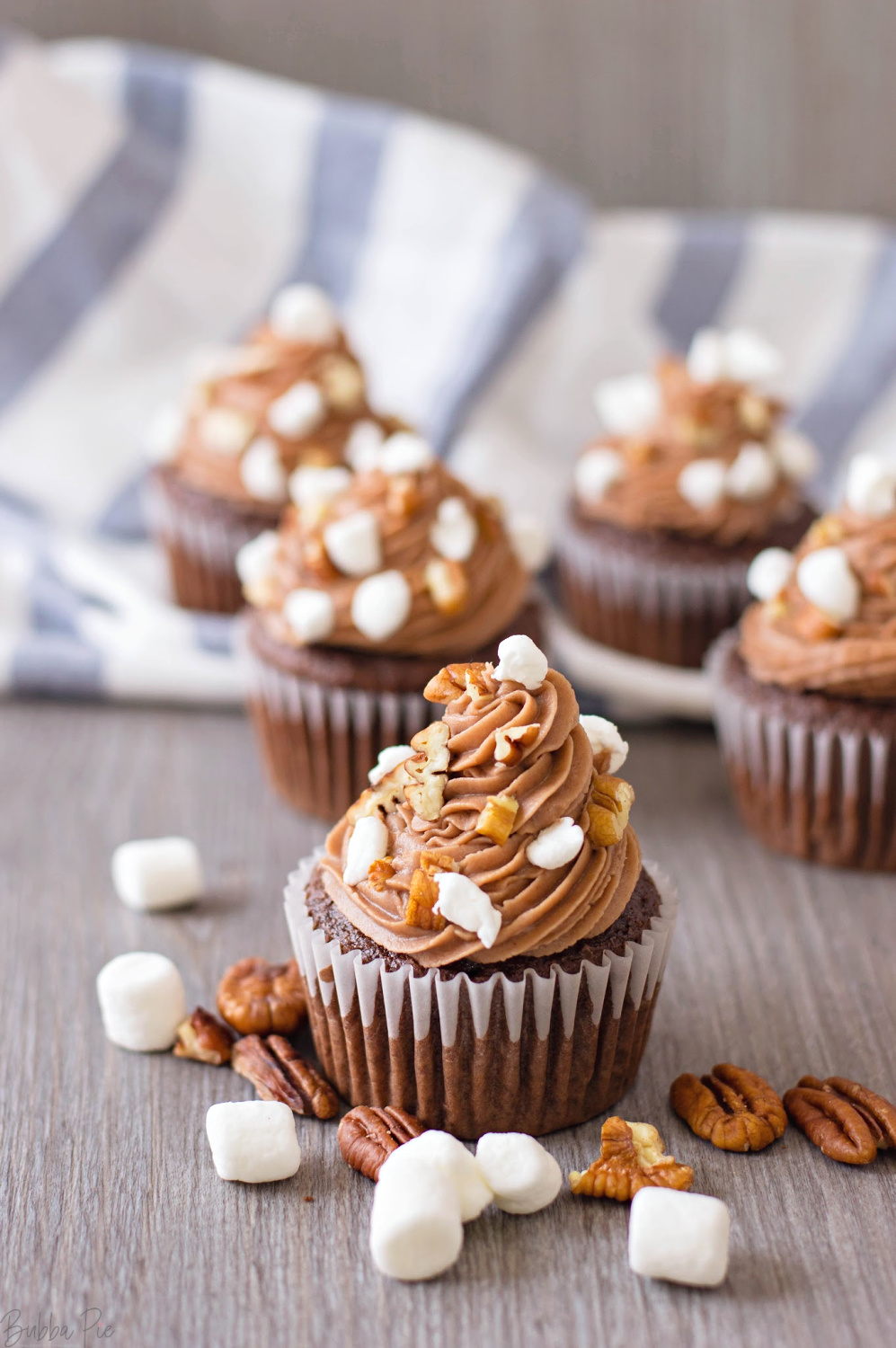 Rocky Road Cupcakes with Marshmallows and Pecans