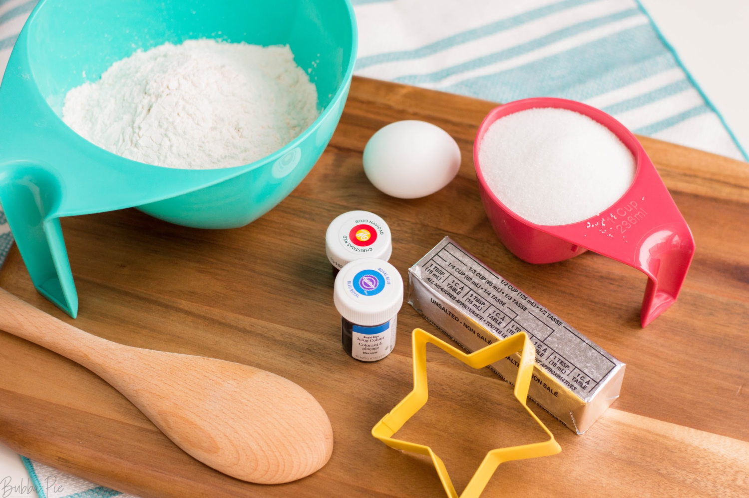 Fourth of July Sugar Cookies Ingredients include butter, eggs flour and food coloring.