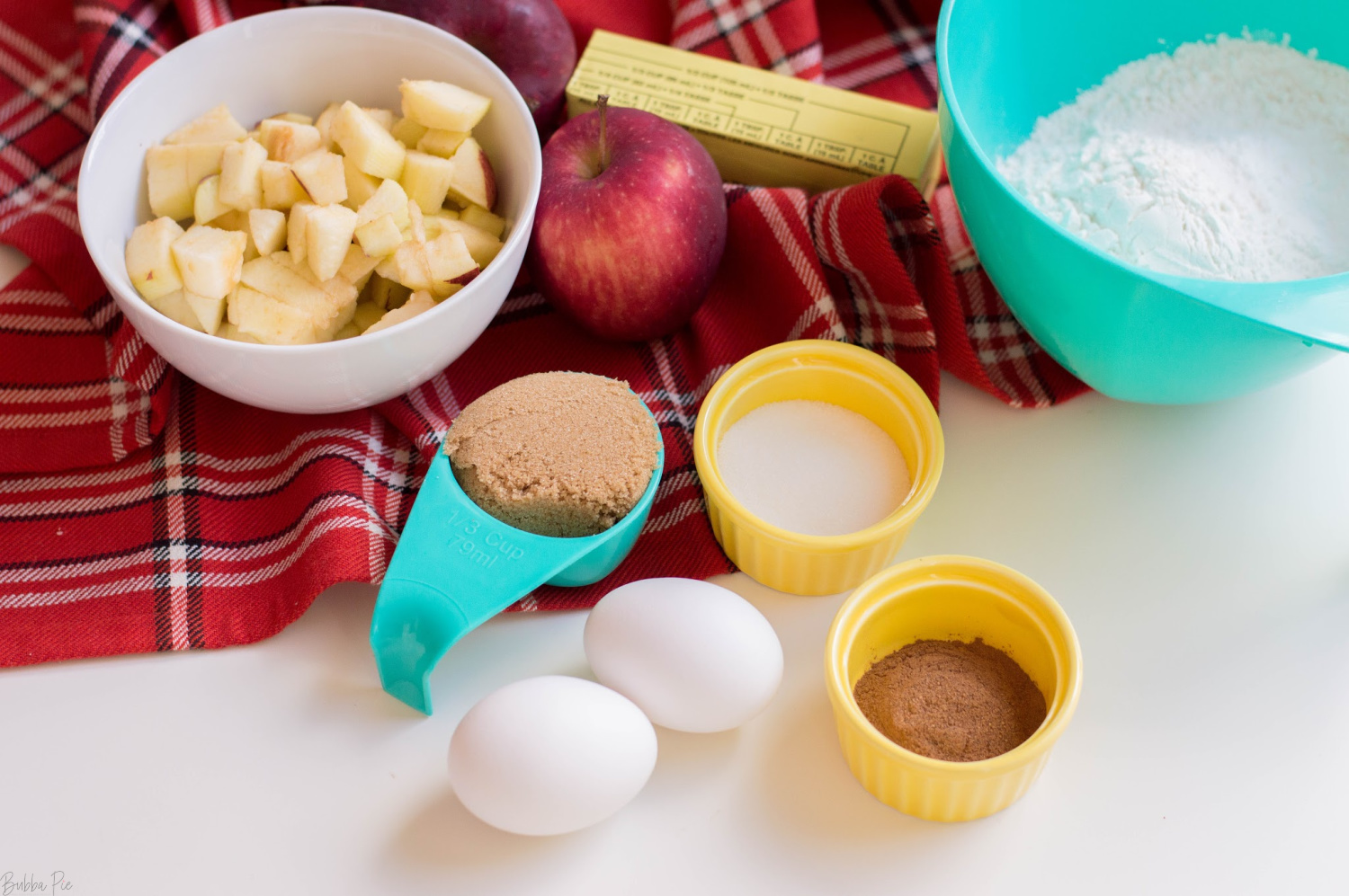 Apple Cinnamon Bread Ingredients include brown sugar, egg, nutmed and cinnamon.