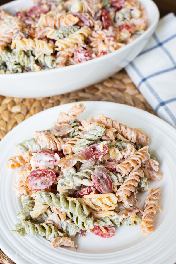 Ranch and Bacon Pasta Salad being served as a side dish for a cookout.