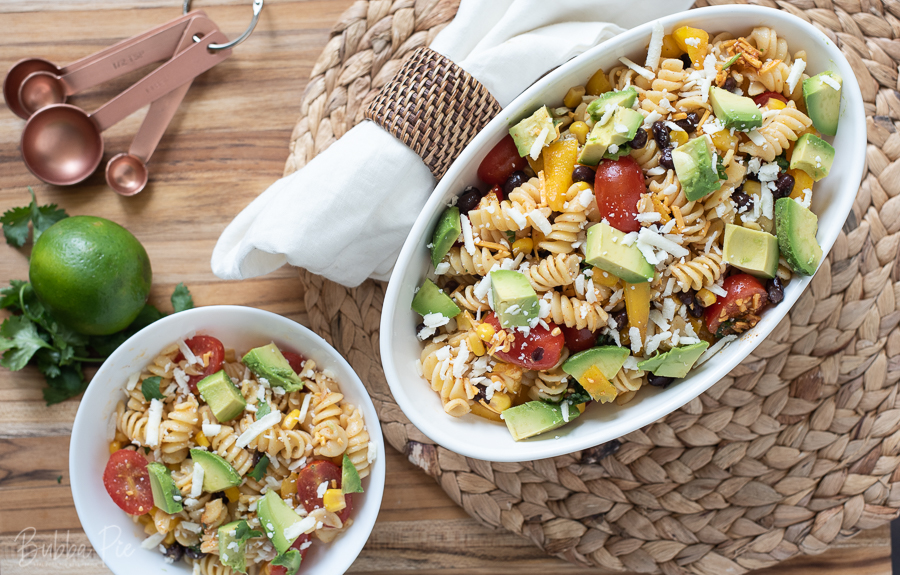 Southwest Pasta Salad recipe being served as a side dish.