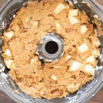 pour apple dapple batter into bundt cake pan.