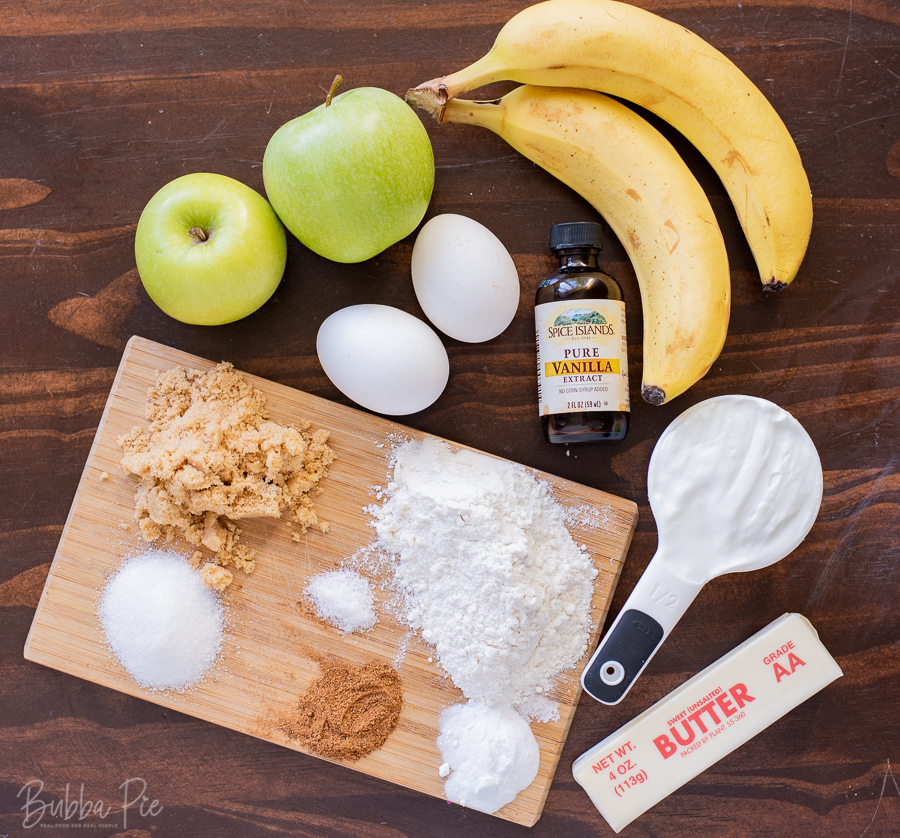 Apple banana bread Ingredients