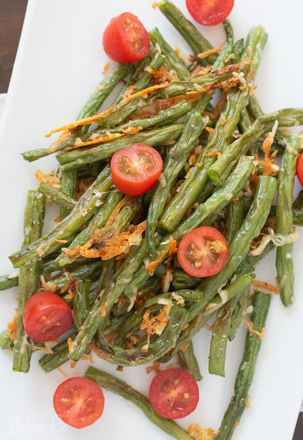Baked Green Beans Recipe with garlic, parmesan and olive oil.