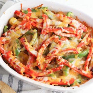 Chicken Fajita Casserole Recipe being served for dinner in a white dish.